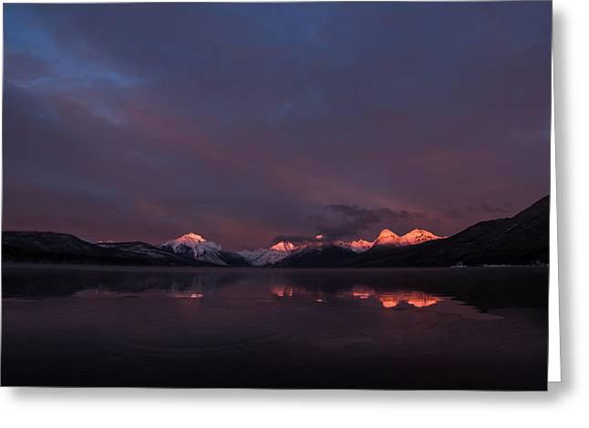 Alpen Glow // Lake Mcdonald, Glacier National Park Greeting Card
