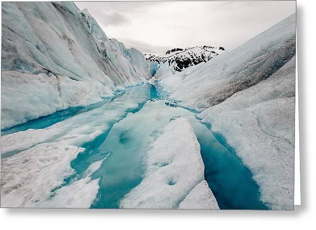 Glacier Pathway Greeting Card by Jen Morrison