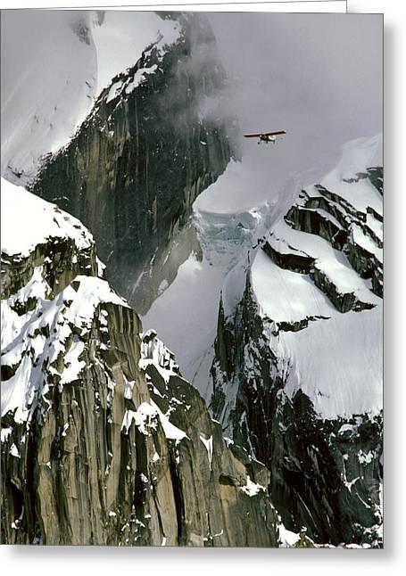 Glacier Pilot & Plane In Ak Range Greeting Card