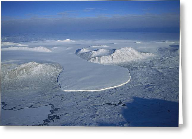 Glacier Spilling Into The Ross Sea Greeting Card
