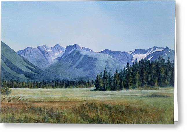 Glacier Valley Meadow Greeting Card by Sharon Freeman