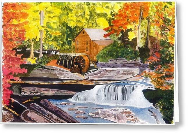 Glade Creek Grist Mill Greeting Card by David Bartsch