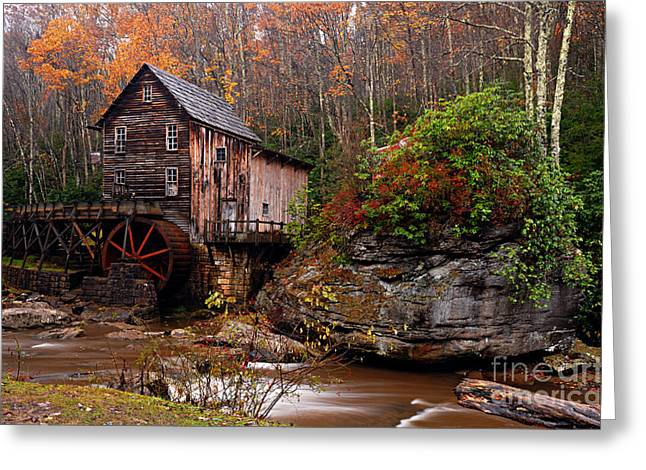 Glade Creek Grist Mill Greeting Card by Larry Ricker