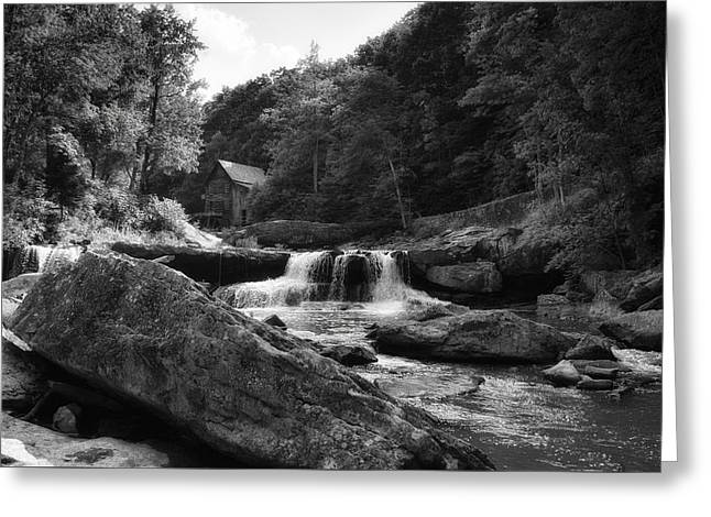 Glade Creek Waterfall Greeting Card by Shelly Gunderson