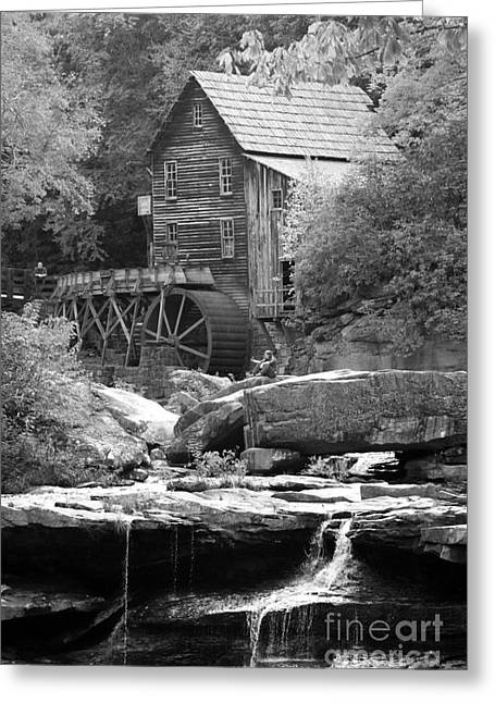 Glade's Mill Black And White Greeting Card by Dwight Cook