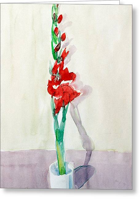 Gladiolas In A Coffee Cup Greeting Card by Mark Lunde