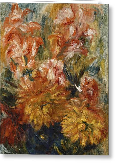 Gladioli In A Blue Vase Greeting Card by Pierre Auguste Renoir