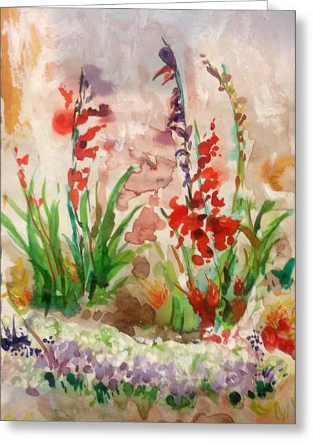 Gladioli Greeting Card by Vladimir Kezerashvili