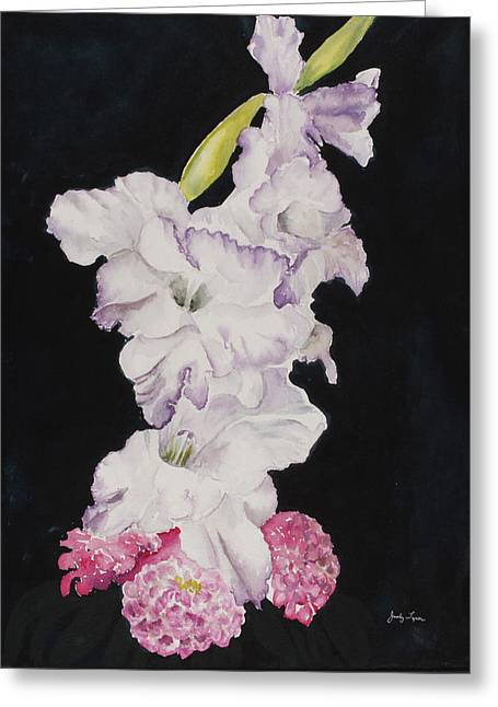 Gladiolus And Zinnias. Greeting Card by Judy Loper