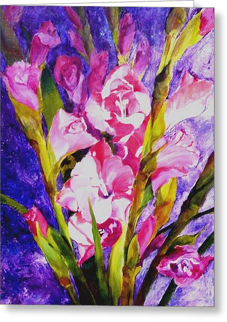 Gladiolus Glamour Greeting Card by Betty M M   Wong