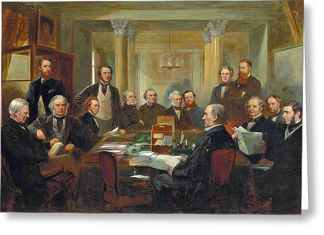 Gladstone's Cabinet Of 1868 Greeting Card by MotionAge Designs