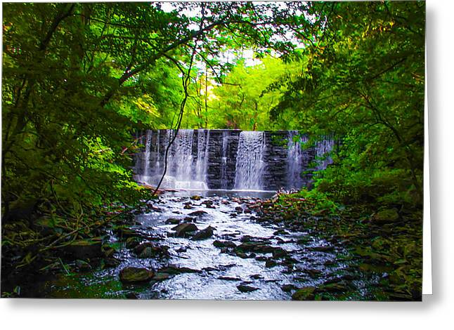 Gladwyne Waterfall In Spring Greeting Card