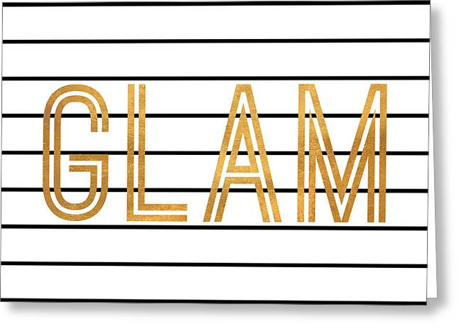 Glam Pinstripe Gold Greeting Card by South Social Studio