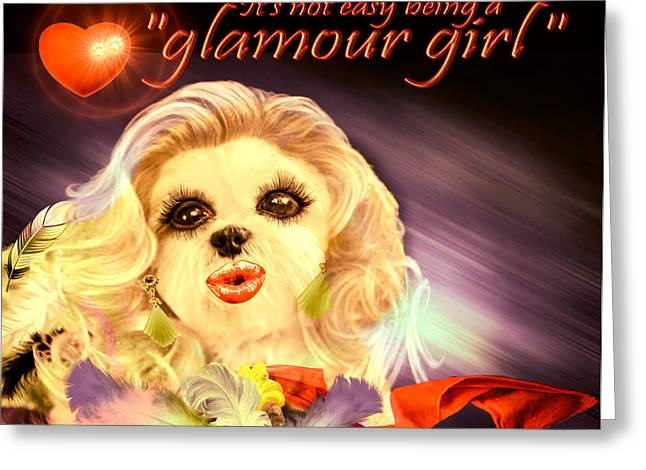 Greeting Card featuring the digital art Glamour Girl-1 by Kathy Tarochione