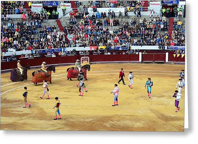 Glamour In The Bullfight Greeting Card by Laura Jimenez