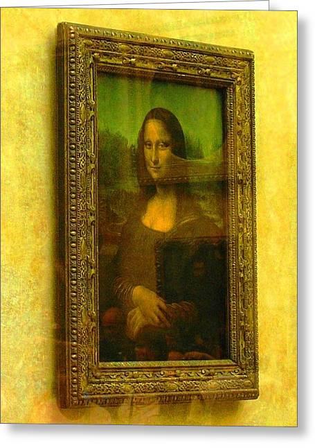 Glance At Mona Lisa Greeting Card