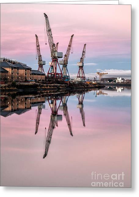 Glasgow Cranes With Belt Of Venus Greeting Card by John Farnan