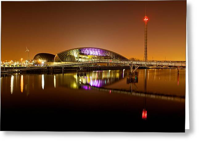 Glasgow Science Centre On A Tofee Coloured Sky Greeting Card
