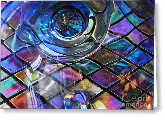Glass Abstract 262 Greeting Card by Sarah Loft
