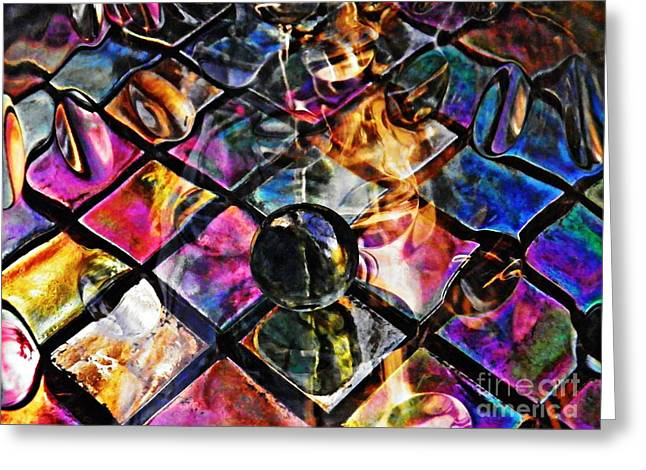 Glass Abstract 392 Greeting Card by Sarah Loft