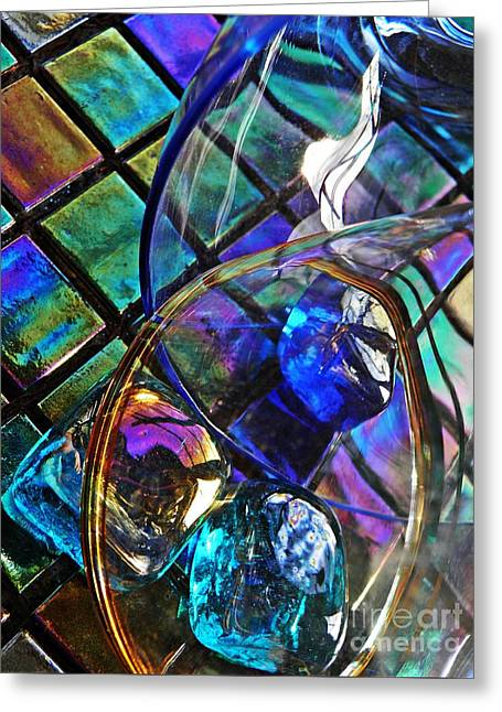 Glass Abstract 690 Greeting Card by Sarah Loft