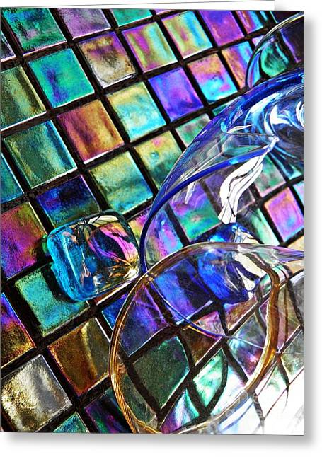 Glass Abstract 696 Greeting Card by Sarah Loft