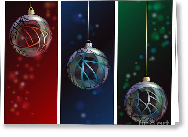 Glass Bauble Banners Greeting Card by Jane Rix