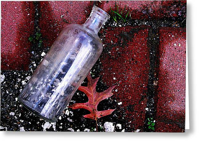 Glass Bottle And  Bricks Greeting Card by Colleen Kammerer