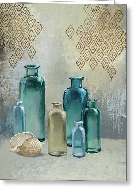 Glass Bottles I Greeting Card by Michael Marcon