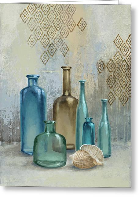 Glass Bottles II Greeting Card by Michael Marcon