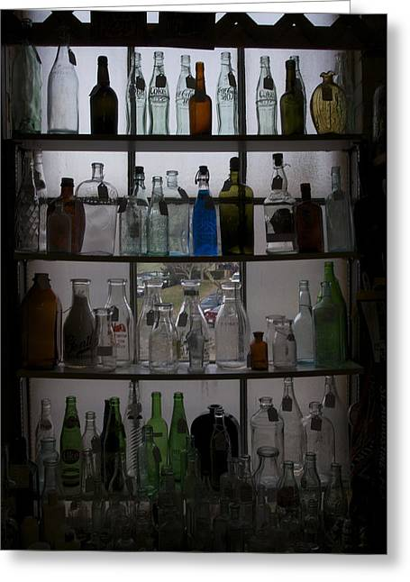 Glass Bottles Greeting Card by Micaela Brown