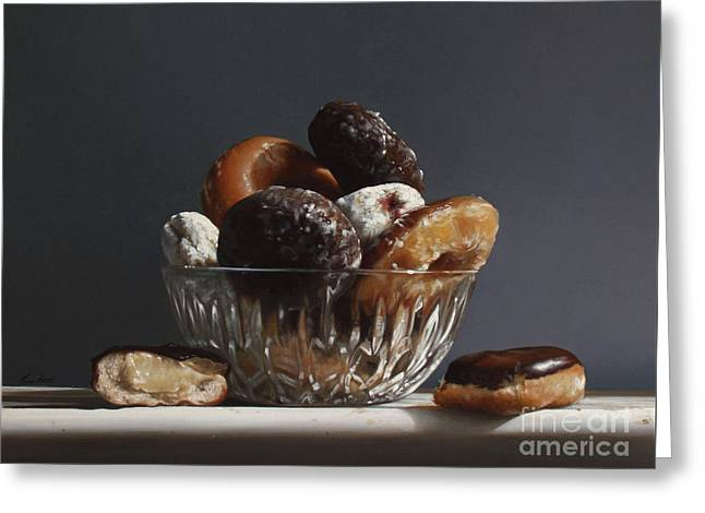 Glass Bowl Of Donuts Greeting Card by Larry Preston