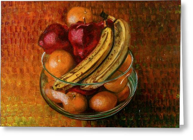 Glass Bowl Of Fruit Greeting Card