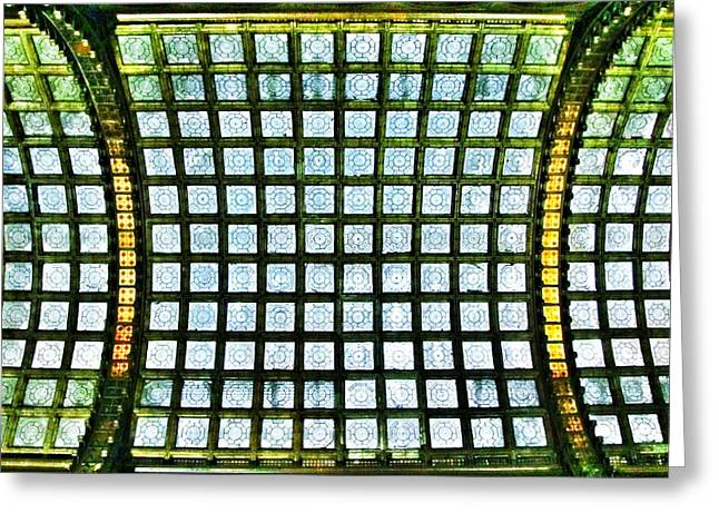 Glass Ceiling In Paris Court - Hungary - Budapest Greeting Card by Marianna Mills