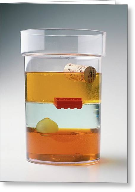 Glass Containing Layers Of Fluid Greeting Card