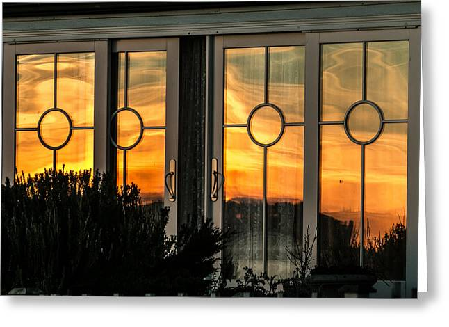 Glass Doors Aglow Greeting Card