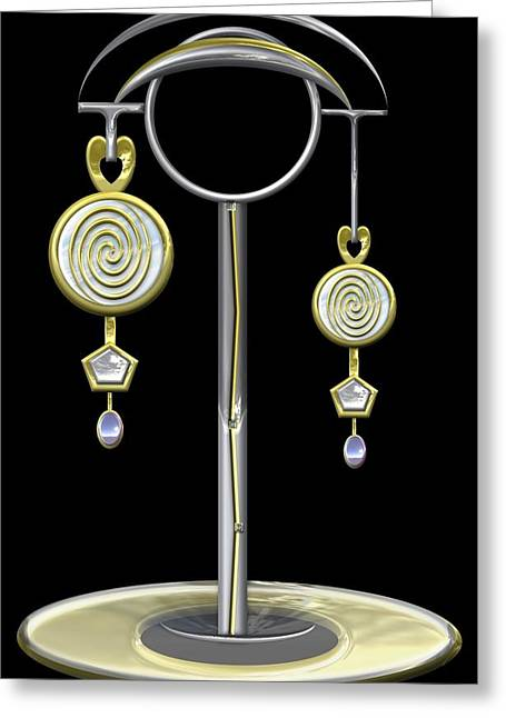Glass Earrings And Stand Greeting Card by Lorenzo Woodard