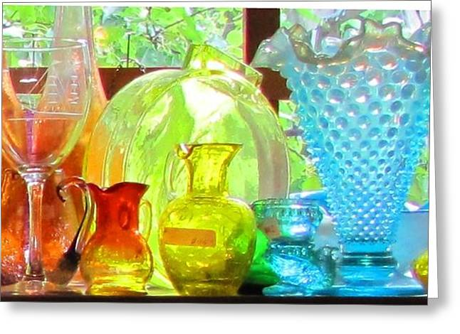 Glass In Sunlight Greeting Card by Jeanne Porter