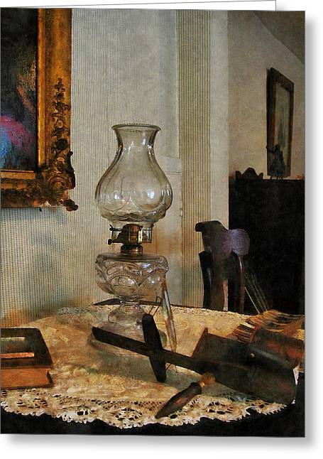 Glass Lamp And Stereopticon Greeting Card by Susan Savad