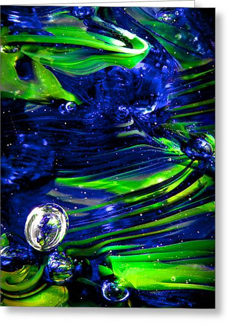 Glass Macro Seattle Seahawks Wave Greeting Card by David Patterson