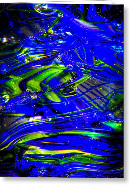 Glass Macro Abstract Seahawks Blue And Green Greeting Card by David Patterson