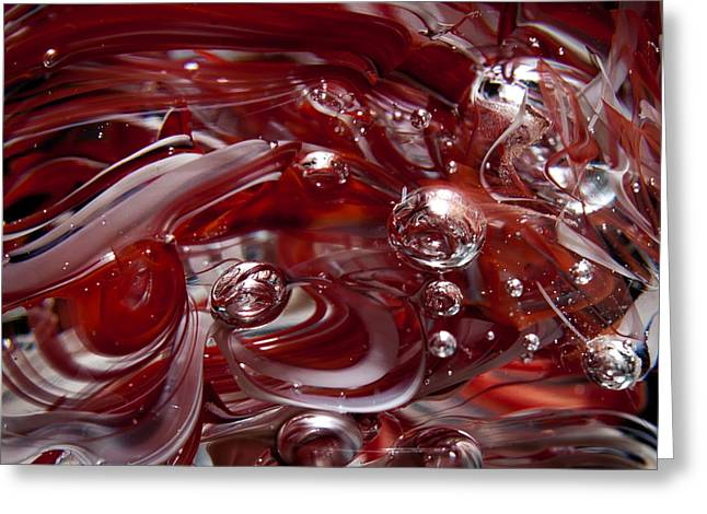 Glass Macro Abstract - Crimson And Gray Iv Greeting Card by David Patterson