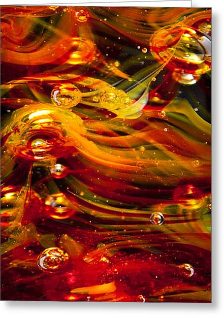 Glass Macro Abstract - Molten Fire Greeting Card by David Patterson