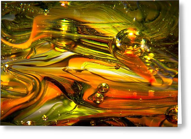 Glass Macro Abstract Rgo1 Greeting Card by David Patterson