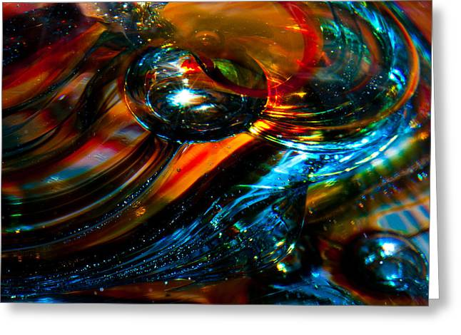 Glass Macro - Blues And Orange Greeting Card by David Patterson