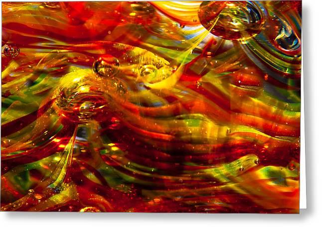 Glass Macro - Burning Embers Greeting Card by David Patterson