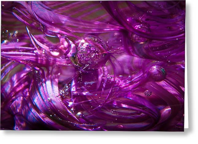 Glass Macro - Deep Pinks IIi Greeting Card by David Patterson