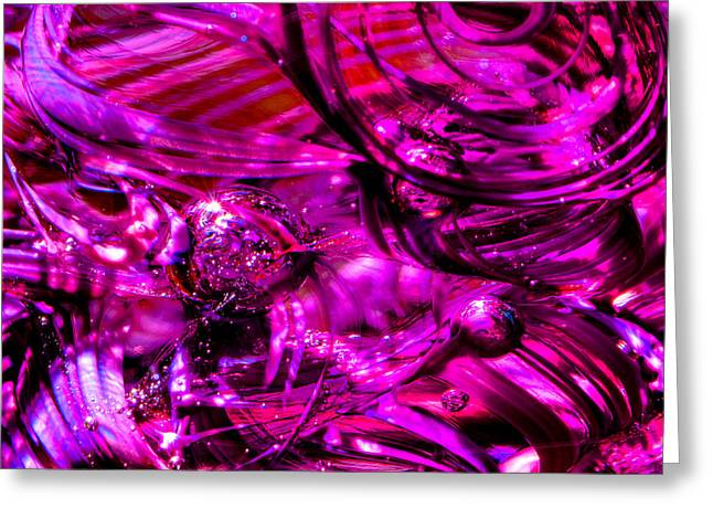 Glass Macro - Hot Pinks Greeting Card by David Patterson