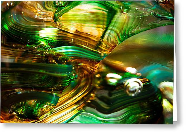 Glass Macro - Waves Of Amber Greeting Card by David Patterson