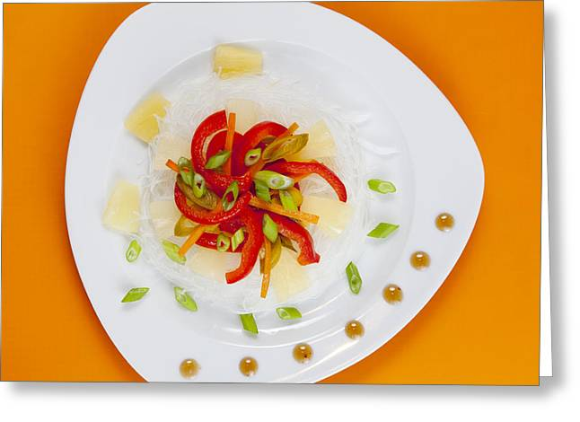 Glass Noodles With Vegetables  Greeting Card by Alexey Stiop